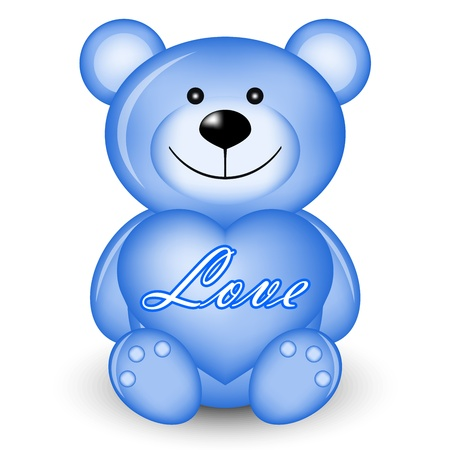 Vector illustration of blue bear with heart Vector