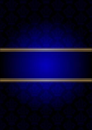 ornamented: Vector blue and gold background Illustration