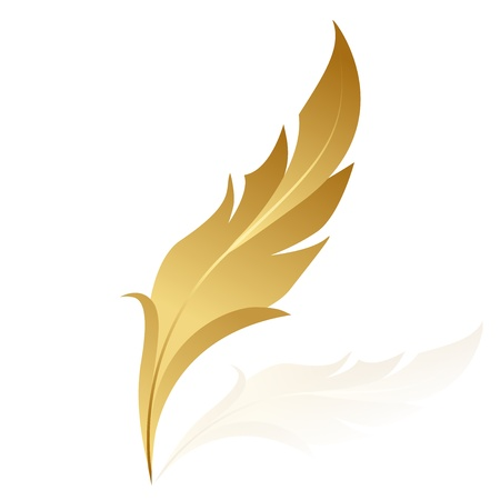 feather pen: Vector illustration of golden feather Illustration