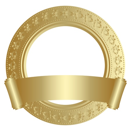 Golden circular frame with scroll Vector