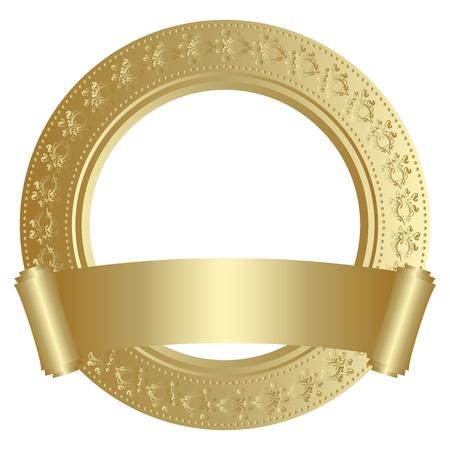 guarantee seal: Marco de oro circular con desplazamiento