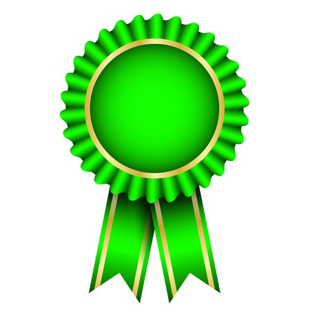Vector illustration of green badge with ribbon Vector