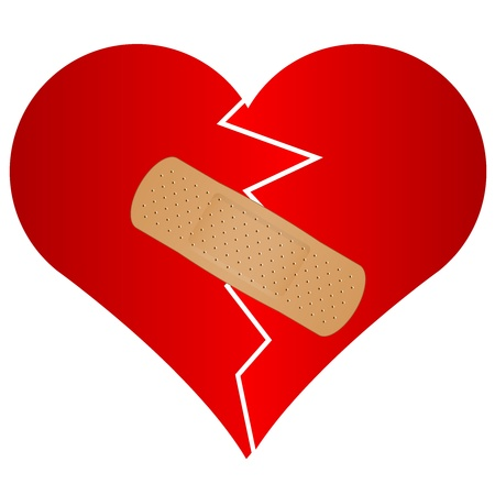 heart pain: Vector illustration of broken heart with plaster