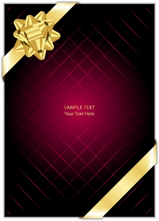 Vector maroon background with gold bow Vector