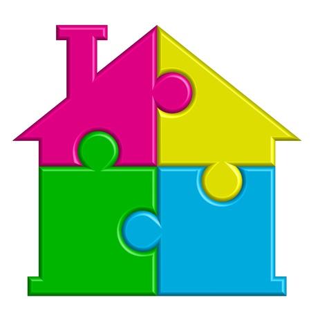 icono inicio: Ilustraci�n vectorial de la casa de puzzles Vectores