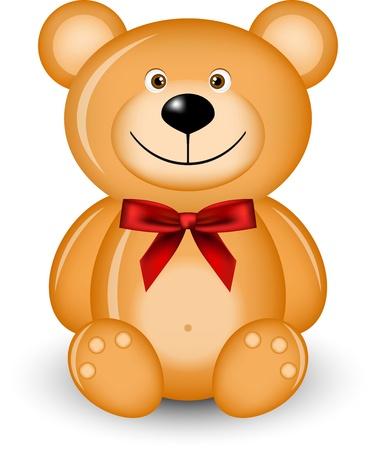 roztomilý: ilustrace medvěd s červenou mašlí Ilustrace