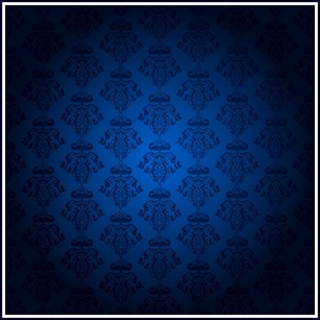 behang blauw: vintage blauw behang Stock Illustratie