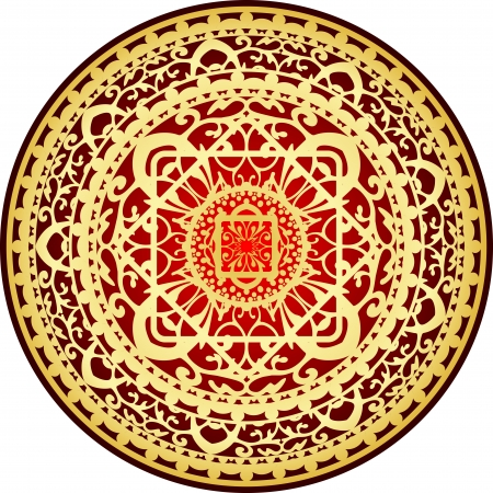 red rug: illustration of oriental red &amp, gold rug