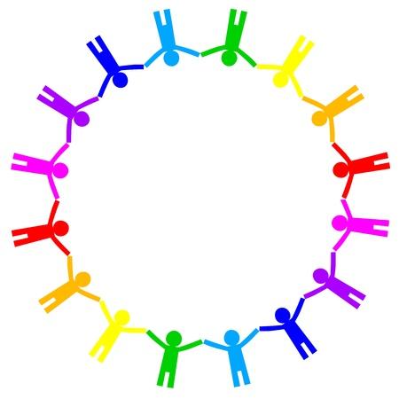 tolerancia: icono colorido de la gente en el círculo