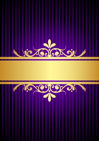 ornamental background: Silver vintage gold and purple background