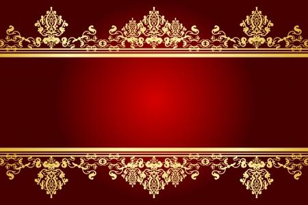 rojo y dorado marco de