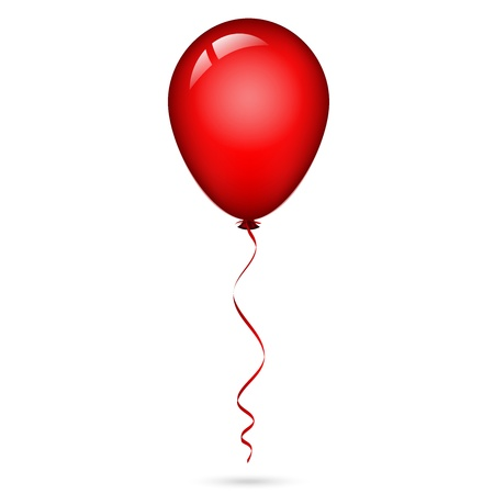 illustration of red balloon with ribbon
