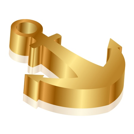 gold coast: Vector 3d illustration of golden anchor