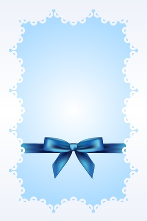 Blue background with lace and ribbon Stock Vector - 14181504