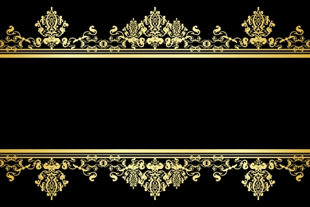 ornamented: Vector black and gold background Illustration
