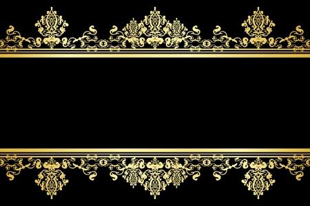 dorato: Vector nero e fondo oro Vettoriali