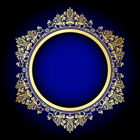 round frame: Vector illustration of gold ornate frame on blue