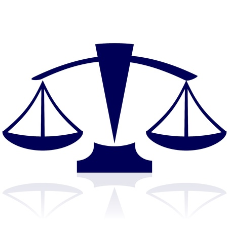 notaris: Justitie schalen - vector blauwe pictogram