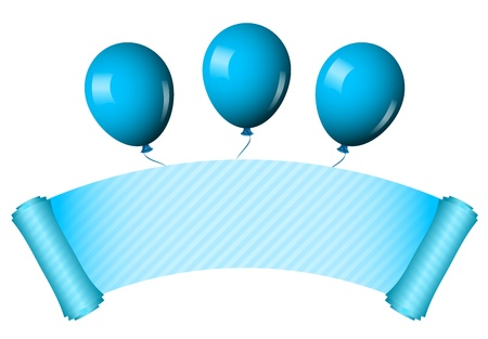 Vector illustration of blue scroll with balloons Vector