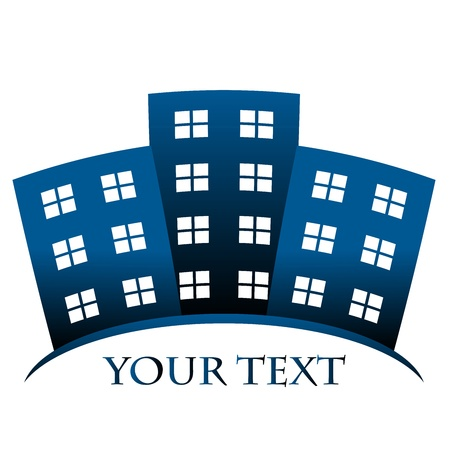 realestate: Vector blue symbol of buildings and space for your text Illustration