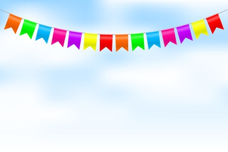 bunting flags: Vector illustration of colorful bunting
