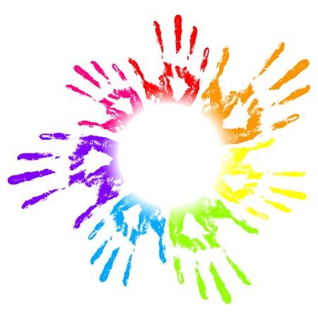 empreintes digitales: Vector illustration d'impressions color�es main