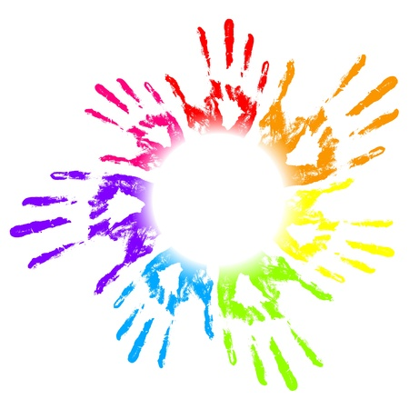 friendship circle: Vector illustration of colorful hand prints