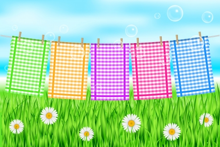 clothes pegs: Vector illustration of colorful towels