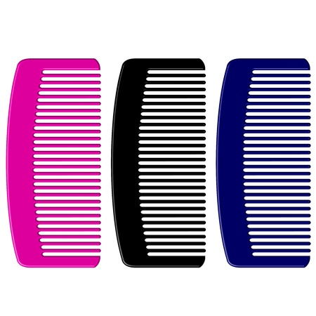 hairbrush: Vector illustration of colorful combs