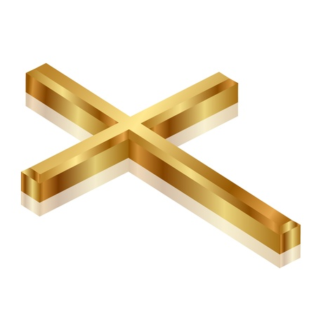 church 3d: Vector illustration of gold cross