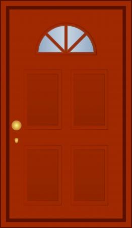 tocar la puerta: Ilustración vectorial de puerta marrón