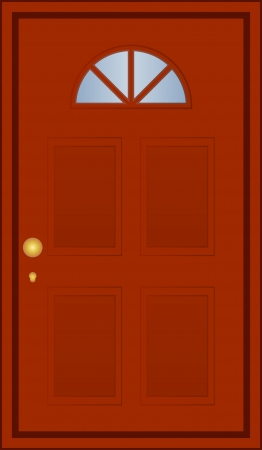 door bell: Vector illustration of brown door