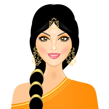 traditionally indian: Vector illustration of eastern girl in orange