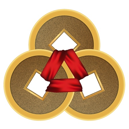 Feng shui 3 coins with red ribbon Vector