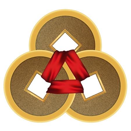 shui: Feng shui 3 monete con nastro rosso