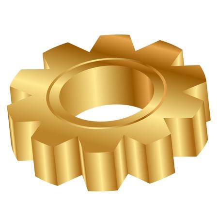 three wheel: Vector 3d illustration of golden cog wheel Illustration