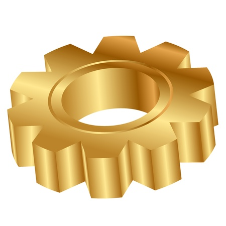 chrome wheels: Vector 3d illustration of golden cog wheel Illustration