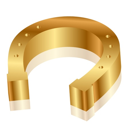 Vector illustration of gold horseshoe Vector