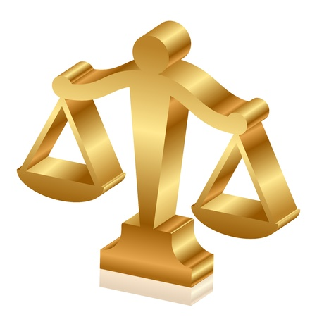 justice scales: Vector 3d icon of golden justice scales