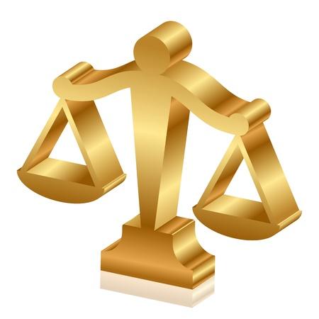 gerechtigheid: Vector 3d pictogram van gouden rechtvaardigheid schalen Stock Illustratie