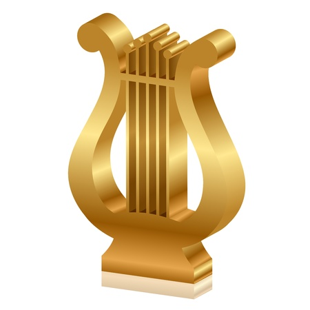 arpa: Vector 3d ilustración de la lira de oro