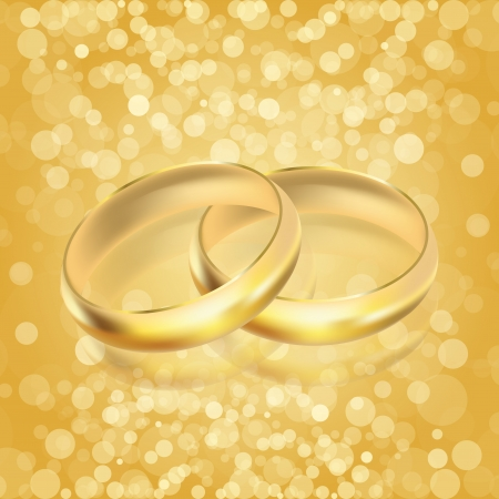 Vector illustration of rings - golden background Vector