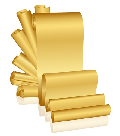 papyrus: Vector illustration of gold scrolls Illustration