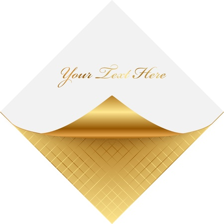 wall angle corner: Vector golden note pape Illustration