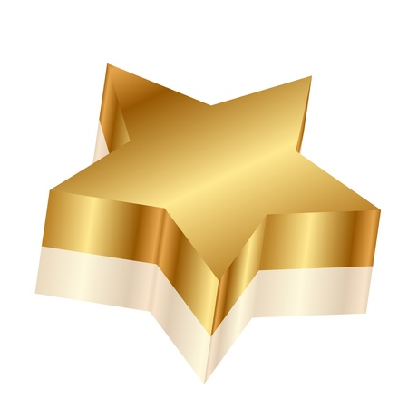 famous star: Vector 3d illustration of gold star