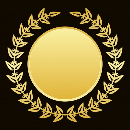 trof�u: Fundo do vetor com louros de ouro