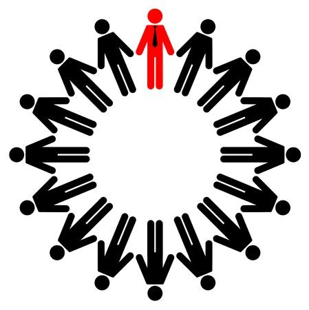 Vector illustration des employés et des gestionnaires de former un cercle Vecteurs
