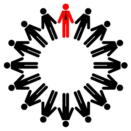 responsible: Vector illustration of employees and manager stand in a circle
