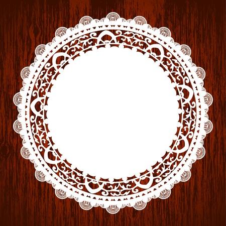 doilies: Ilustraci�n vectorial de la servilleta sobre la mesa de madera