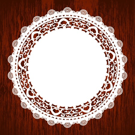 lace frame: Vector illustration of napkin on wooden table Illustration
